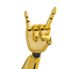 Golden robotic hand giving the sign of horns on the white