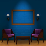 Two chair with table and empty frame and sconces in minimalist i poster