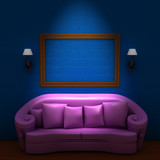 Pink couch with empty frame and sconces in blue minimalist inter poster