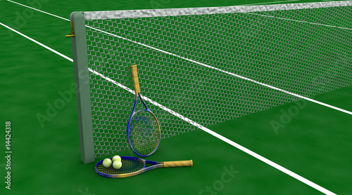 tennis racquet and balls