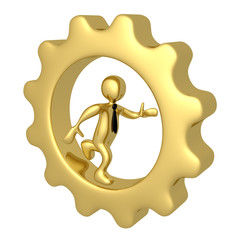 Businessman Running Inside A Cog