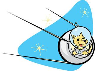 Sputnik Satellite and dog.