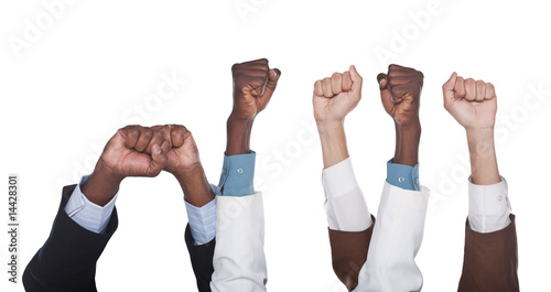 unity multiracial  business hands