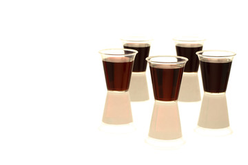Multiple communion cups with wine