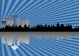 Cityscape with silhouettes and skyscapers poster
