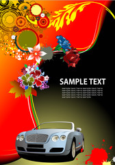 Floral background with cabriolet car image. Vector illustration