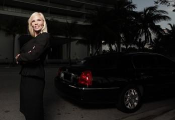 Attractive female limo driver