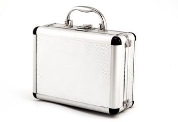 Aluminum suitcase, isolated