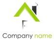 Logo maison quadrilatères rond arcs vert gris
