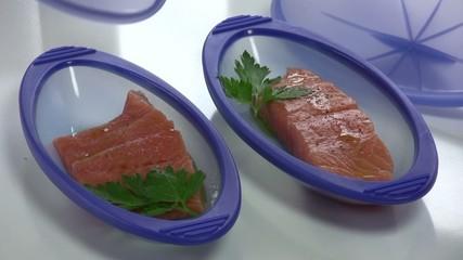 ouvrir les papillotes de saumon