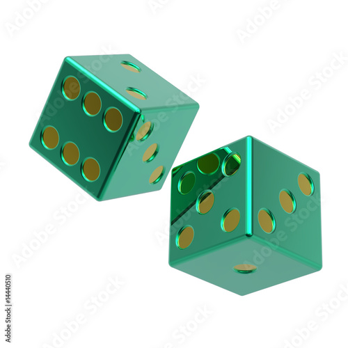 Two green dices isolated on white.