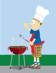 Cartoon Male dressed in grilling attire cooking meat outdoors