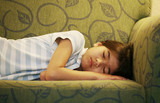 Little girl  asleep on couch poster