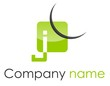 Logo J coin arrondi arc vert gris