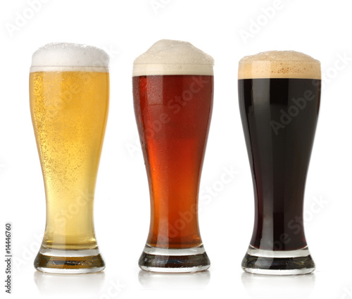 Fotobehang Bier Three cold beer, isolated on white