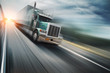 American truck speeding on freeway. Blurred motion. - 14449738