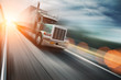 American truck on freeway, blurred motion