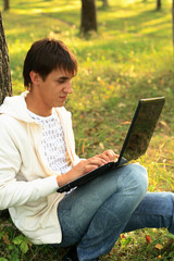 Internet chatting in park
