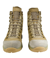 unused desert combat boots on white background