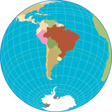 South America globe Separate and use any country as you wish. poster