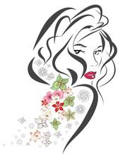 Силуэт женщины с цветами