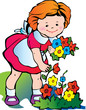 Fine little girl gather flowers. Happy childhood