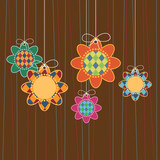 harlequin pattern flower hanging decorations poster