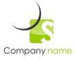 Logo S coin arrondi arc vert gris