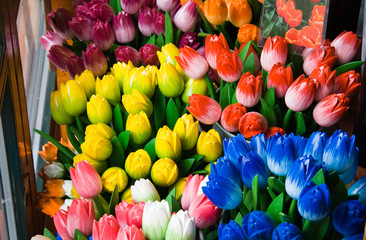Wooden tulips in shop for sale as a souvenir