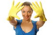 Beautiful happy housewife hands with rubber gloves