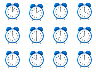 Twelve blue alarm clock's