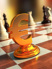 Gold euro sign on a chessboard