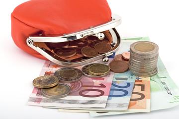 Geld Euro mit Geldbörse