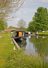 Canal Boat by Lock