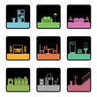 square icons with home interior designs