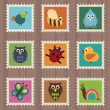 collection of stamps with wildlife designs poster