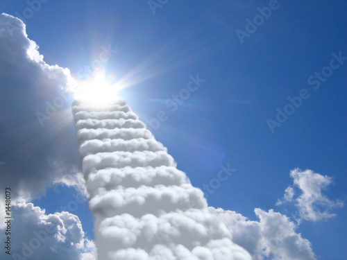 stairs in sky. clouds concept
