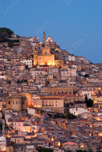view of old italian village at twilight