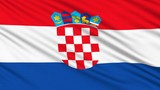 Croatian flag, with real structure of a fabric poster