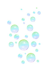 Soap bubbles on white background