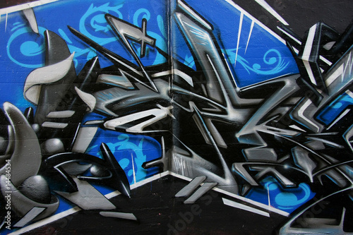 Graffity in blue and black