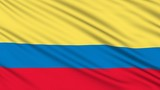 Colombia flag, with real structure of a fabric poster
