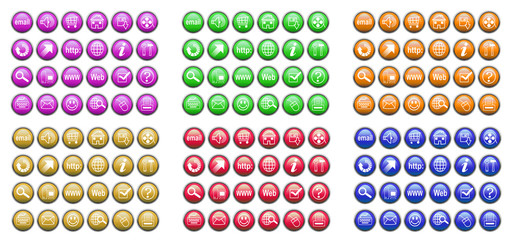 collection of buttons for Internet