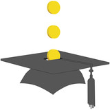 Coins Save in College Graduation Savings Fund Bank poster