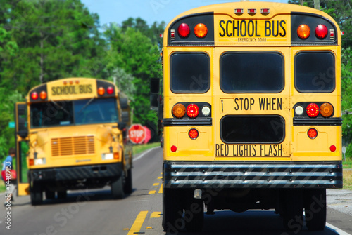school bus picking up kids - 14489153