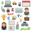 collection of business and finance stickers