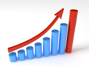 Business cylindrical graph with arrow showing profits