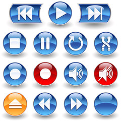 Collection of 15 Media Player glossy buttons