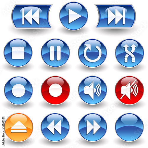 poster of Collection of 15 Media Player glossy buttons