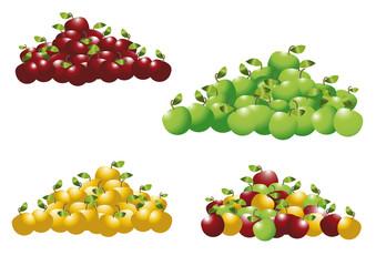Groupes de pommes vertes,rouge,jaune
